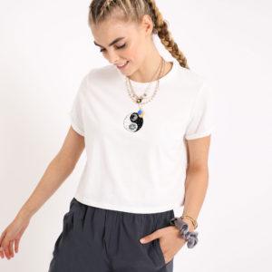 T-shirt court Femme - Couleur blanc -Taille S Pimkie
