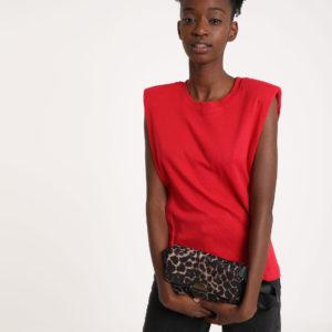 """T-shirt """"épaulettes Femme - Couleur rouge Pimkie"""