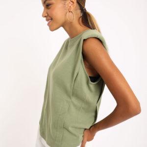"""T-shirt """"épaulettes Femme - Couleur kaki Pimkie"""