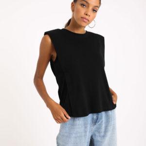 """T-shirt """"épaulettes Femme - Couleur noir Pimkie"""