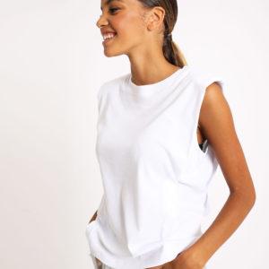 """T-shirt """"épaulettes Femme - Couleur blanc Pimkie"""