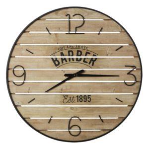 Horloge lattes en sapin imprimé et métal noir D95 Maisons du Monde