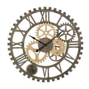 Horloge rouages en sapin et métal noir D100 Maisons du Monde
