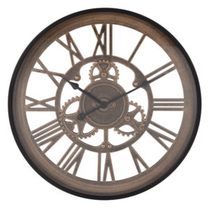 Horloge rouages noire et marron D46 Maisons du Monde