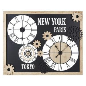 Horloges en métal et sapin à rouages 120x98 Maisons du Monde