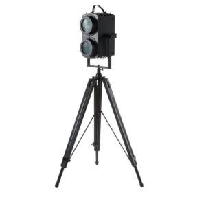 Lampadaire trépied projecteur en manguier et métal noirs H136 Maisons du Monde