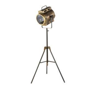 Lampadaire trépied projecteur en métal doré effet vieilli H170 Maisons du Monde