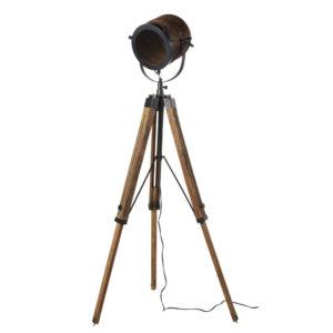 Lampadaire trépied projecteur en métal et manguier H162 Maisons du Monde