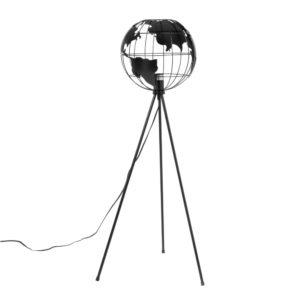 Liseuse trépied en métal noir abat-jour mappemonde H105 Maisons du Monde