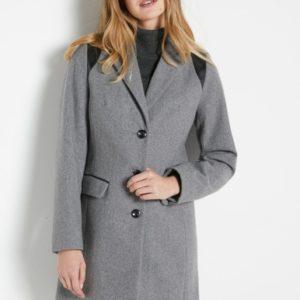 Manteau coupe droite en drap de laine Gris Balsamik