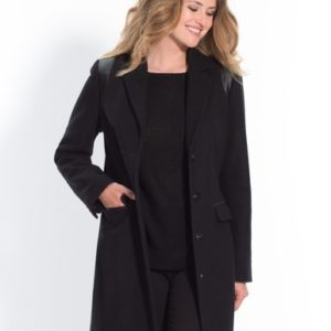 Manteau coupe droite en drap de laine Noir Balsamik