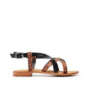 Sandales cuir Mary Noir/Léopard Vero Moda