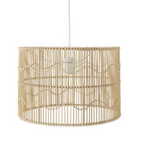 Suspension tambour en rotin et bambou beige Maisons du Monde