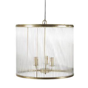 Suspension tambour en verre 3 branches en métal doré Maisons du Monde