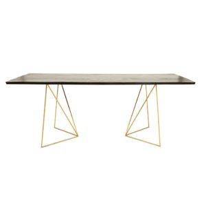 Table à manger 4/6 personnes en acacia noir et métal doré L197 Jagger Maisons du Monde
