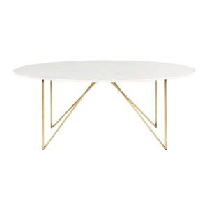 Table à manger 4/6 personnes en marbre blanc et fer doré L200 Izmir Maisons du Monde
