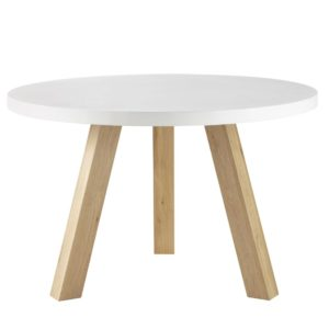 Table à manger 5/6 personnes en béton blanc et chêne D120 Chuppa Maisons du Monde