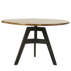 Table à manger 5/6 personnes en manguier et fonte D120 Compas Maisons du Monde