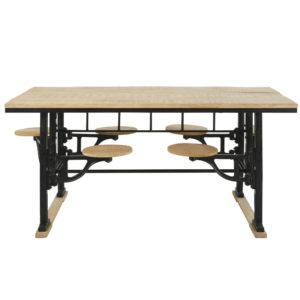 Table à manger 8 personnes avec tabourets en manguier et fonte L180 Factory Maisons du Monde