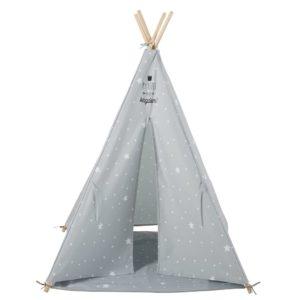 Tipi enfant gris imprimé étoiles blanche avec tapis Maisons du Monde