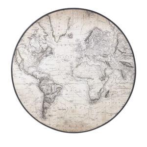 Toile ronde imprimé carte du monde noire et beige D91 Maisons du Monde