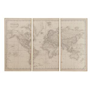 Triptyque carte du monde 159x101 Maisons du Monde