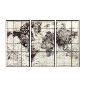 Triptyque carte du monde en céramique noire 189x125 Maisons du Monde