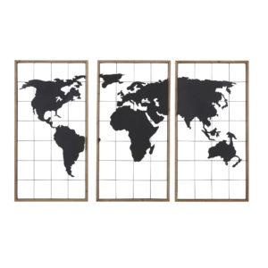Triptyque carte du monde en métal noir et sapin 159x102 Maisons du Monde