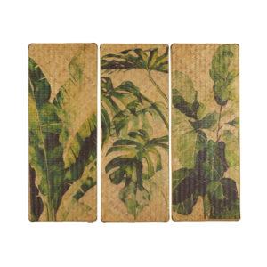 Triptyque en bambou imprimé feuillage vert 124x107 Maisons du Monde