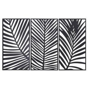 Triptyque feuilles de palmiers en métal noir 144x90 Maisons du Monde