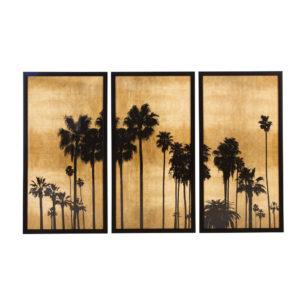 Triptyque palmiers noir et doré 164x105 Maisons du Monde