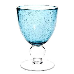 Verre à vin en verre bullé bleu Maisons du Monde