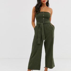 Abercrombie & Fitch - Combinaison bandeau large avec ceinture-Vert Asos