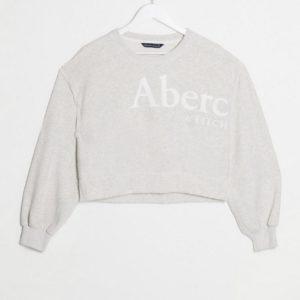 Abercrombie & Fitch -Sweat-shirt à manches ballon et logo - Gris Asos