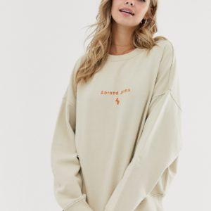 Abrand - Sweat-shirt oversize à logo brodé-Blanc Asos