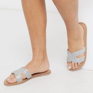 Accessorize - Bella - Sandales plates ornées de perles - Argenté Asos