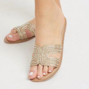 Accessorize - Bella - Sandales plates ornées de perles - Doré Asos