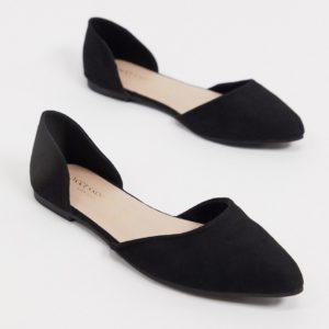 Accessorize - Chaussures plates pointues en deux parties - Noir Asos
