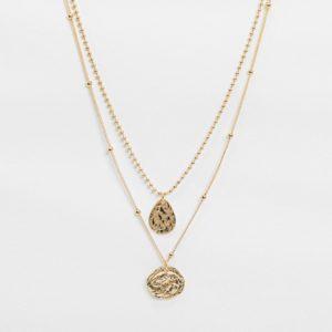 Accessorize - Collier multi-rangs avec pendentif cercle - Doré Asos