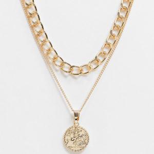 Accessorize - Lot de colliers avec chaînes et pendentifs en exclusivité - Doré Asos