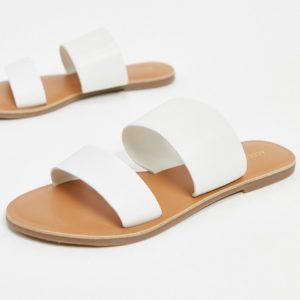 Accessorize - Sandales plates en cuir en deux parties - Blanc Asos