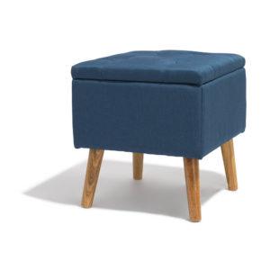Tabouret marius bleu nuit avec coffre intégré Gifi