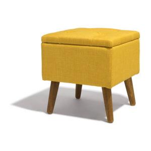 Tabouret marius jaune moutarde avec coffre intégré Gifi