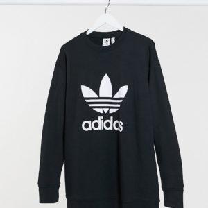 adidas Originals Plus - Sweat-shirt ras de cou à logo trèfle - Noir Asos