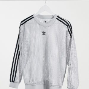 adidas Originals- Sweat-shirt en tulle avec logo - Gris Asos