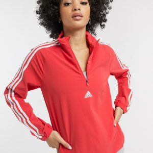 adidas Training - Sweat-shirt zippé à 3 bandes - Rouge Asos
