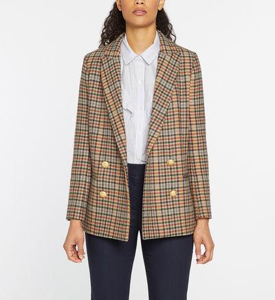 Veste Victoric droite drap de laine à carreaux Multicolore Pablo